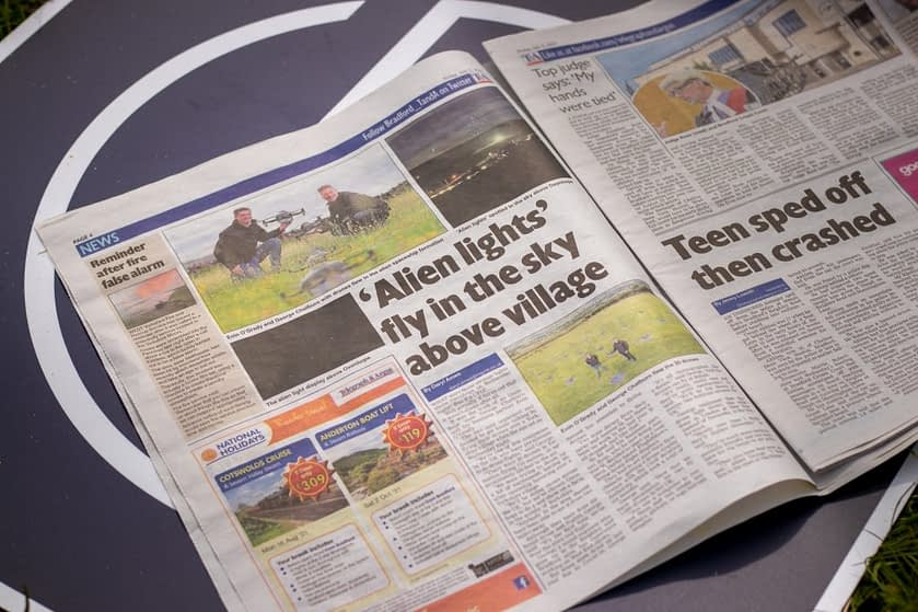 Argus & Telegraph report on drones as UFOS
